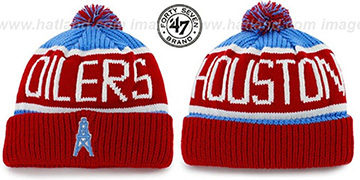 Oilers 'THE-CALGARY THROWBACK' Red-Sky Knit Beanie Hat by Twins 47 Brand