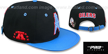 Oilers 'THROWBACK LOGO-MARK STRAPBACK' Black-Blue Hat by Pro Standard