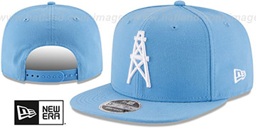 Oilers THROWBACK TEAM-BASIC SNAPBACK Sky Hat by New Era