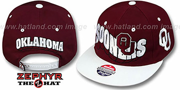 Oklahoma '2T FLASHBACK SNAPBACK' Burgundy-White Hat by Zephyr