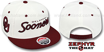 Oklahoma '2T HEADLINER SNAPBACK' White-Burgundy Hat by Zephyr