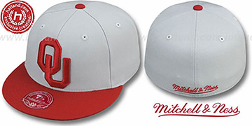 Oklahoma 2T XL-LOGO Grey-Burgundy Fitted Hat by Mitchell & Ness