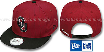Oklahoma TEAM-BASIC PINSTRIPE SNAPBACK Burgundy-Black Hat by New Era