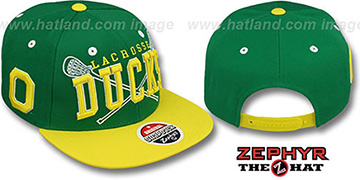 Oregon 'LACROSSE SUPER-ARCH SNAPBACK' Green-Yellow Hat by Zephyr