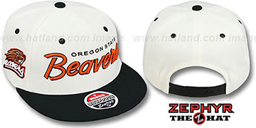 Oregon State 2T HEADLINER SNAPBACK White-Black Hat by Zephyr