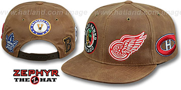 Original-6 'DYNASTY LEATHER SNAPBACK' Brown Hat Zephyr