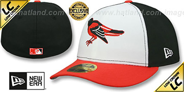 Orioles 1989-97 LOW-CROWN VINTAGE White-Black-Orange Fitted Hat by New Era