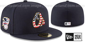Orioles 2018 JULY 4TH STARS N STRIPES Navy Fitted Hat by New Era