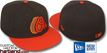 Orioles '2T ALT SCRIBBLE FADE' Brown-Orange Fitted Hat by New Era