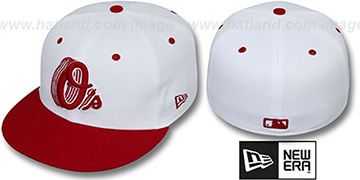 Orioles '2T ALT SCRIBBLE FADE' White-Red Fitted Hat by New Era