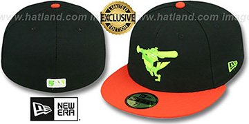 Orioles 2T-FASHION ALTERNATE Black-Orange-Lime Fitted Hat by New Era