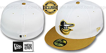 Orioles 2T-FASHION White-Metallic Gold Fitted Hat by New Era