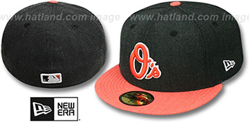 Orioles 2T-HEATHER ACTION Charcoal-Orange Fitted Hat by New Era