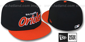 Orioles '2T TEAM-SCRIPT' Black-Orange Fitted Hat by New Era