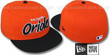 Orioles '2T TEAM-SCRIPT' Orange-Black Fitted Hat by New Era