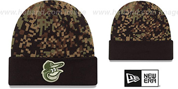Orioles ARMY CAMO PRINT-PLAY Knit Beanie Hat by New Era