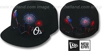 Orioles CITY-SKYLINE FIREWORKS Black Fitted Hat by New Era