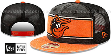 Orioles COOP HERITAGE-BAND TRUCKER SNAPBACK Black-Orange Hat by New Era