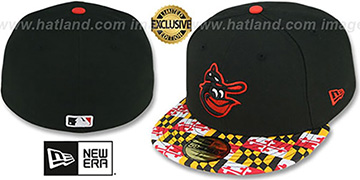 Orioles COOP 'MARYLAND-FLAG' Black Fitted Hat by New Era