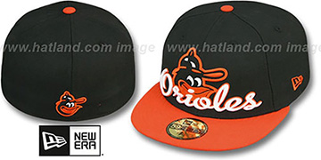 Orioles COOP SCRIPT-PUNCH Black-Orange Fitted Hat by New Era