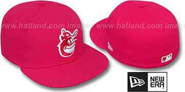 Orioles COOP SOLID FASHION Fucsia-White Fitted Hat by New Era