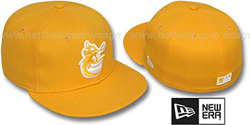 Orioles COOP SOLID FASHION Gold-White Fitted Hat by New Era