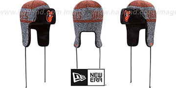 Orioles FROSTWORK TRAPPER Orange Knit Hat by New Era