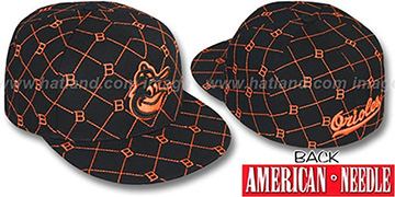 Orioles KINGSTON ALL-OVER Black-Orange Fitted Hat by American Needle