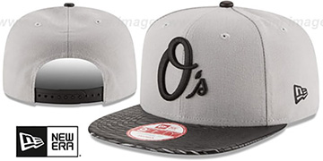 Orioles 'LEATHER-RIP SNAPBACK' Grey-Black Hat by New Era