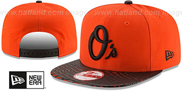 Orioles 'LEATHER-RIP SNAPBACK' Orange-Black Hat by New Era