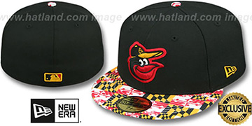Orioles 'MARYLAND-FLAG VIZA' Black Fitted Hat by New Era