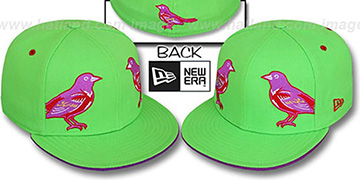 Orioles 'MIRROR PANELCUT' Lime-Purple Fitted Hat by New Era