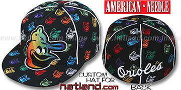 Orioles 'MONSTER RAINBOW DICE ALL-OVER' Black Fitted Hat by American Needle