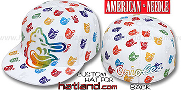 Orioles MONSTER RAINBOW DICE ALL-OVER White Fitted Hat by American Needle