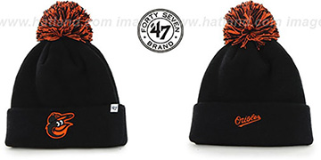 Orioles POMPOM CUFF Black Knit Beanie Hat by Twins 47 Brand