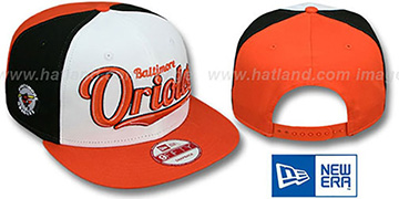 Orioles 'SCRIPTWHEEL SNAPBACK' White-Black-Orange Hat by New Era