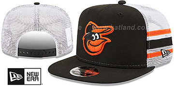 Orioles 'SIDE-STRIPE TRUCKER SNAPBACK' Black Hat by New Era