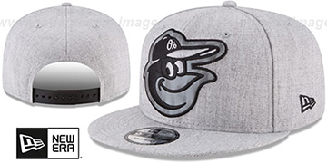 Orioles SILKED-XL SNAPBACK Heather Light Grey Hat by New Era