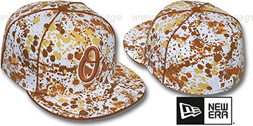 Orioles 'SPLATTER' White-Orange Fitted Hat by New Era