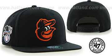 Orioles 'SURE-SHOT SNAPBACK' Black Hat by Twins 47 Brand