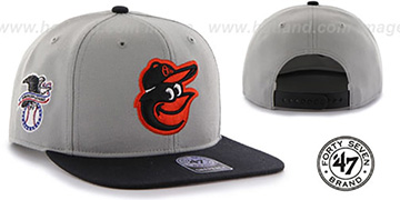 Orioles 'SURE-SHOT SNAPBACK' Grey-Black Hat by Twins 47 Brand