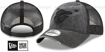Orioles TONAL-WASHED TRUCKER SNAPBACK Black Hat by New Era