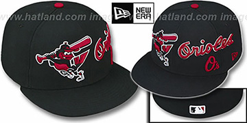 Orioles 'TRIPLE PLAY' Black-Red Fitted Hat by New Era