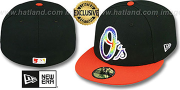 Orioles 'TYE-DYE INSIDER' Black-Orange Fitted Hat by New Era