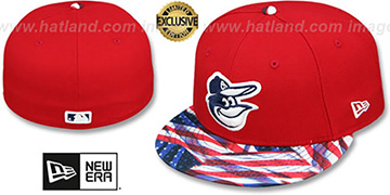 Orioles 'USA WAVING-FLAG' Red Fitted Hat by New Era