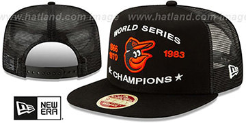 Orioles CHAMPIONS TRUCKER SNAPBACK Black Hat by New Era