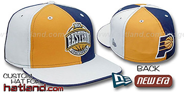 Pacers CONFERENCE PINWHEEL Gold-Navy-White Fitted Hat