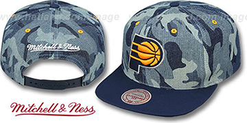 Pacers 'DENIM-CAMO SNAPBACK' Blue Hat by Mitchell and Ness