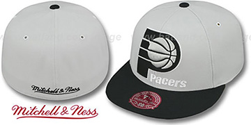 Pacers 'MONOCHROME XL-LOGO' Grey-Black Fitted Hat by Mitchell & Ness