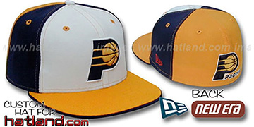 Pacers 'PINWHEEL' White-Navy-Gold Fitted Hat